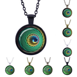 Artist Pendants NZ - Time Gem Choker Vintage peacock feathers Necklace Artist Pendant The Gift For Friends Glass charms long paragraph sweater jewelry