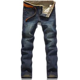 Venta al por mayor de Al por mayor-Classic Hot Stright venta de moda algodón cómodo lavado MensJeans