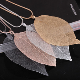 unique halloween gifts NZ - Unique Women Fashion Jewelry Leaves Leaf Sweater Pendant Long Chain Necklace for mon girlfriend birthday gift