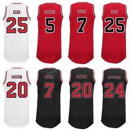 17a9c5364327 Men 25 Steve Kerr Jersey Printed Basketball 7 Toni Kukoc 24 Brian  Scalabrine Jerseys 20 Tony Snell 5 John Paxson Team Color Red Black White  ...