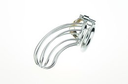 Barato Correias Bloqueáveis-Cock Lock Stainless Steel Lockable Penis Cage Penis Cock Ring Manga Masculino Castidade Dispositivo Cage Belt Cockring Sex Toys For Men
