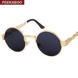 $enCountryForm.capitalKeyWord NZ - Peekaboo wholesale New silver gold metal mirror small round sunglasses men vintage round sun glasses women cheap high quality