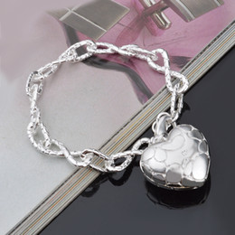 925 thick silver bracelet online shopping - New Love Heart Bracelets for Women Wedding Thick Silver Plated Charm Bangle Femme Pulseiras Indian One Direction Jewelry