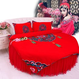 $enCountryForm.capitalKeyWord Canada - Round corner bed Red WEDDING bedding 4pcs set king chinese style cotton DUVET COVER california super king size Duvet cover bedskirt bedding