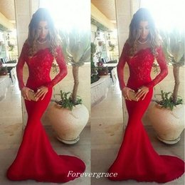 Wholesale 2017 Red Long Sleeves Evening Dress Sexy Mermaid Off Shoulder Lace Girls Wear Special Occasion Party Gown Cheap Custom Made Plus Size