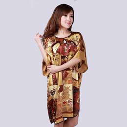 China Wholesale- Coffee Women Faux Silk Kimono Robe Dress New Style Sleepwear Nightgown Casual Bat-wing Sleeve Pajama Lingerie One Size A126 cheap one sleeve kimono suppliers