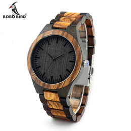 Chinese  Wholesale- BOBO BIRD D30 Round Vintage Zebra Wood Case Men Watch With Ebony Bamboo Wood Face With Zebra Bamboo Wood Strap Japanese movement manufacturers