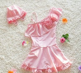 Maillot De Bain Floral Mignon Pas Cher-2017 Summer Babys Girls Bikinis Girls <b>Cute Floral Swimsuit</b> Cap Skirt Set Maillots de bain pour enfants Children Bathing Suit Vêtements de bain