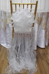 Barato Vestido De Cadeira De Casamento-Flor branca Tulle Chair Covers Vestidos Cadeira Sashes Gravatas Party Banquet Chair Decorations Outdoor Wedding Accessories