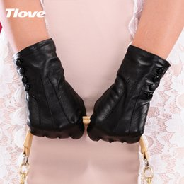 online shopping Tlove Screentouch Women Winter Real Leather Sheepskin Gloves Genuine Leather Fleece lining gloves Female gloves Leather gloves