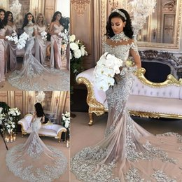 e4b614f4b6f Dazzling High Neck Mermaid Wedding Dresses Long Sleeve Appliques Beaded  Tulle Bridal Gown Bridal Wedding Gowns