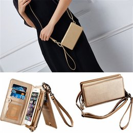 $enCountryForm.capitalKeyWord NZ - Leather Case For iPhone Flip Wallet Cover for iPhone xs max x 6s 7 8 plus Zipper Handbag Shoulder Bag Card Slots samsung note 8 9 s8 s9 plus