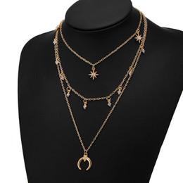 3cb413c52889 1 Unids Estilo de Verano Joyería de Moda de Las Mujeres de Múltiples Capas  Collar de luna cuernos colgante tres capas de cristal collar de diamantes  de ...