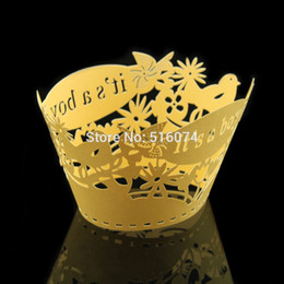 """$enCountryForm.capitalKeyWord Canada - Wholesale-10pcs lot """"its a boy"""" Baby Shower Pearl Paper Laser Cutting Cake muffin cupcake wrapper Free Shipping"""
