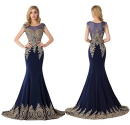Barato Sereia Designer Vestidos-2018 Designer Ocasião Vestidos Marinha Azul Mermaid Bordado Beaded Long Evening Vestidos Formal Prom Dress CPS235