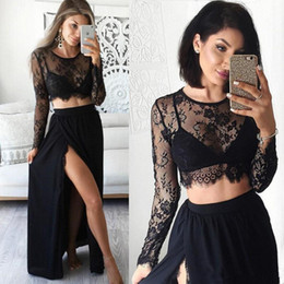 $enCountryForm.capitalKeyWord NZ - Two Piece Black Side Split Prom Dresses 2017 Sexy Sheer Lace Top Long Sleeve Evening Party Formal Woman Chiffon Gowns