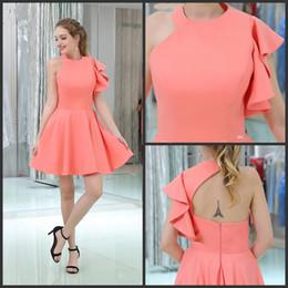 53dae16fa8 Vestidos de dama de honor de una línea de un solo hombro para niñas vestidos  de fiesta de volantes baratos manga vestido de regreso a casa