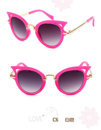protect eyes UK - 2017 new fashion sunglasses for child Cat eye metal PC children glasses frame sunglasses uv400 protect kids sunglasses 10pcs lot
