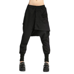 Barato Queda Sweatpants Virilha Largas Mulheres-Autumn Women Drop Crotch Baggy Pants Hip Hop Patchwork Harem Pants Solid Elastic cintura lápis calças Punk Street Sweatpants 10
