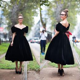 Short White Puffy Tea Dresses NZ - Vintage 2017 Black Velvet Off The Shoulder Tea Length Prom Dresses Cheap Puffy Short Sleeve A-line Evening Gowns Custom Made EN11102