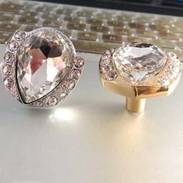 Discount Gold Crystal Cabinet Handles Modern Fashion Diamond Crystal  Furniture Knobs Gold Silver Drawer Cabinet Dresser