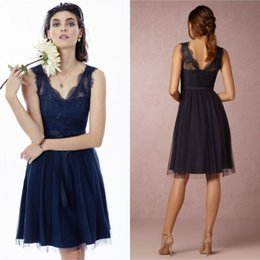 Hot Sale A Line V Neck Knee Length Beach Navy Blue Tulle Bridesmaid Dresses  Lace Top Sexy Design Cheap Wedding Party Dresses With Sleeveless 17d90b2f8982
