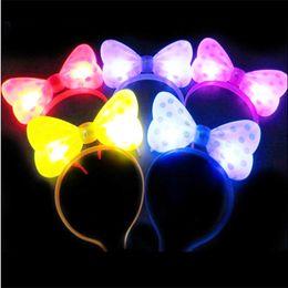 Glow Party Decorations Australia - 200pcs lot Flashing Blinking Glowing LED Bow headband light night lamps for Halloween KTV Bar disco kid's birthday toys Party decorations