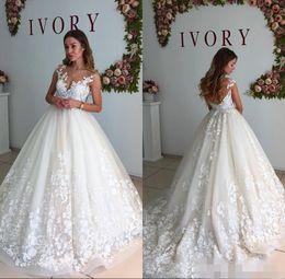 Online Shopping New Custom Made Wedding Dresses Chapel Train Sleeveless Tank Lace Appliques Deep V Neck