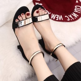 Sandal Tpr Pas Cher-Chaussures femme Sandales femme Black Femme Med Heels 2017 Chaussures Sandales Chaussures Talons Chunky