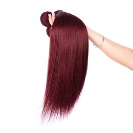 Discount ombre human hair weave - Brazilian Straight Human Virgin Hair Weaves Ombre Burgundy 99J Color Double Wefts 3Bundles lot 4Bundles lot Hair Extensi