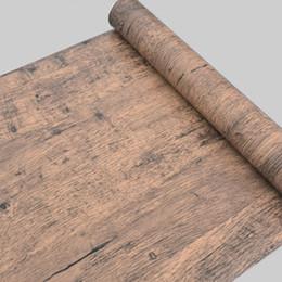 Self Adhesive Furniture Pvc UK - Wholesale- Self adhesive 10Meters roll Wood Grain Wallpaper Waterproof Kitchen Furniture Wooden Door Wardrobe Desktop Vinyl PVC Wall paper