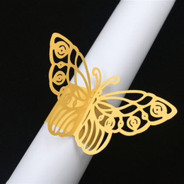 $enCountryForm.capitalKeyWord NZ - 50Pcs lot Free Shipping Towel Buckle Laser Cut mini butterfly Shaped Pearl Paper Napkin Rings for Wedding Birthday Party Table Decoration