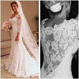 Square neck Sheath wedding dreSS online shopping - 2019 Sheath Wedding Dresses Modest Sleeves Lace Appliques Sweep Train Bridal Gowns Custom Made Vestido de Noiva DTJ