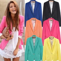 93f005c138c A353 women new fashion 7 colors plus size candy color one button blazer  suit jacket autumn jackets coats suits blazers