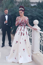 Discount see through sequin bow dress Vestido De Festa 2017 Long Sleeve Evening Dress Arabic Custom Made Bow Pearls Prom Gowns See Through Bridal Gown
