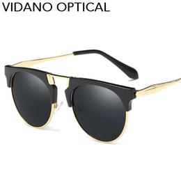 7ff141f40a3 Vidano Optical POLARIZED Edition Semi Rimless Round Sunglasses For Men    Women Flat Top Fashion Designer Stylish Sun Glasses UV400