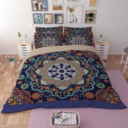 bohemia style national printing bedding sets twin full queen king size bedclothes bedspreads duvet cover pillow sham patchwork 400tc 3 4pcs - Bedspreads King Size