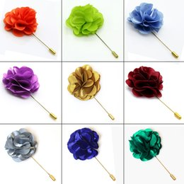mens brooches NZ - Free Shipping Lapel Flowers Boutonniere Stick with Satin Flowers Handmade Mens Accessories Brooches lapel Pins Party Wedding Mixed Wholesale