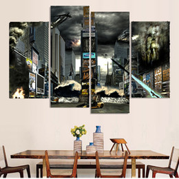 $enCountryForm.capitalKeyWord NZ - 4 Pcs Set Framed HD Printed New York Times Square Disaster Picture Wall Art Canvas Print Decor Poster Canvas Modern Oil Painting
