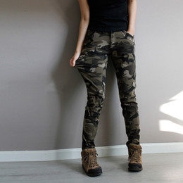 Jeans Femme Spandex Pas Cher-Vente en gros- Super Quality Army Green fatigue Camouflage Cargo Pants plus taille High Stretch Jeans Femme Skinny Denim jeans womens baqueros