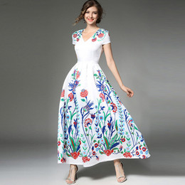 5a88313ab3 Women Floral Printing Dresses V Neck Large Swing Dress Short Sleeve Slim  Waist Fashion Elegant Original Party Vestidos