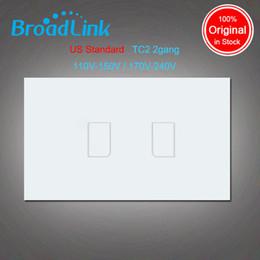 Venta al por mayor de Venta al por mayor-Broadlink TC2, AU estándar de EE. UU., 2 cuadrillas, automatización del hogar inteligente, teléfono celular Control remoto inalámbrico luz de la lámpara Interruptor Por broadlink rmpro