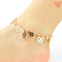 girls cute anklet feet 2019 - Popular Summer Emoji Anklet Rose Hands Beach Sand Anklet Jewelry Cute Smiling Face Bracelet Foot Jewelry for Girls Whole