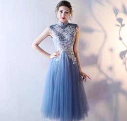 $enCountryForm.capitalKeyWord NZ - Blue Tea Length Bridesmaid Dresses 2017 New Chinese Style A Line Applique Lace Organza Short Junior Party Gown Lace Up Back