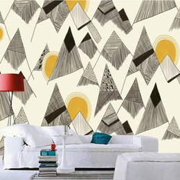 Discount simple wall art painting Personality simple 3 wallpaper non-woven sofa art Nordic wall cloth hand-painted geometric creative background wallpaper