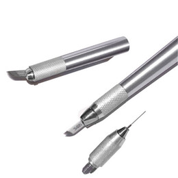 Make Permanent Tattoo Pen Australia - Microblading pen for permanent makeup machine Manual eyebrow pen Make up tattoo kit 3 in 1 pc free shipping