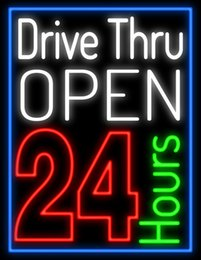 "$enCountryForm.capitalKeyWord Canada - Drive Thru Open 24hrs Neon Sign Handcrafted Custom Real Glass Tube Fast-food Restaurants Store Bar Advertising Display Neon Signs 24""X31"""