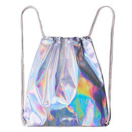 plain color blue string bag 2019 - 5pcs 2017 New Backpack Style Laser Sliver Drawstring Bags For Teenagers Student Women's Laser Holographic Bag Sack