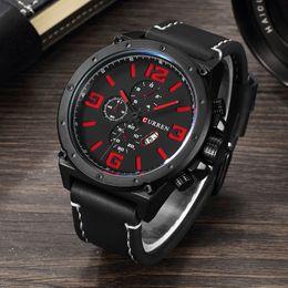 $enCountryForm.capitalKeyWord Canada - CURREN Brand Top Fashion Casual Quartz Wrist Watch Men Large Dial Waterproof Leather Relojes Black Strap for Leather 8230