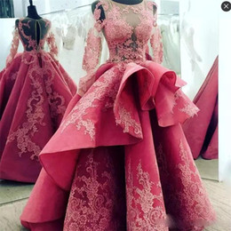 Long evening pepLum dresses back drape online shopping - Amazing Long Sleeves Evening Dresses With Sheer Neck Ruffles Lace Appliques Celebrity Prom Dresses Long Open Back Sexy Quinceanera Dresses